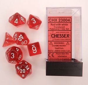 CHX23004 Chessex Translucent Poly 7 Set Red / White