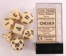 CHX25400 Chessex Opaque Poly 7 Set Ivory / Black