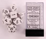 CHX25401 Chessex Opaque Poly 7 Set White / Black