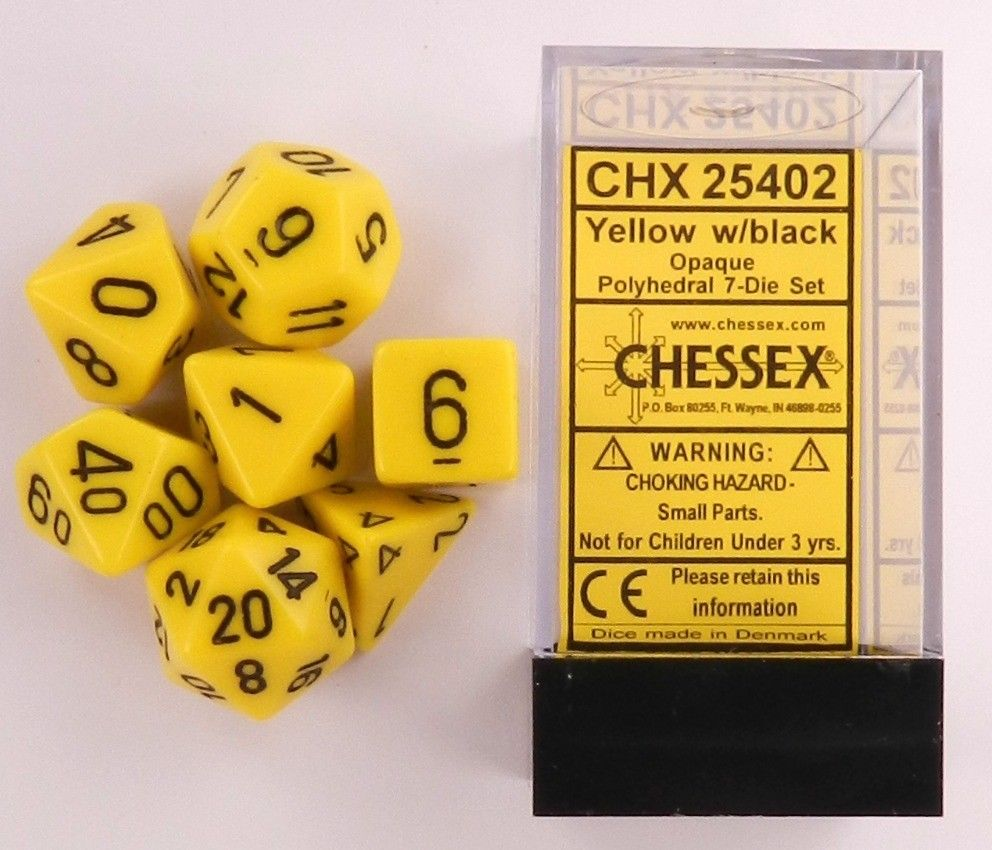 CHX25402 Chessex Opaque Poly 7 Set Yellow / Black