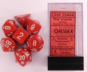 CHX25404 Chessex Opaque Poly 7 Set Red / White