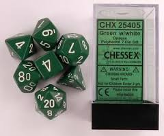 CHX25405 Chessex Opaque Poly 7 Set Green / White