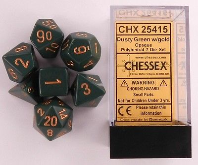 CHX25415 Chessex Opaque Poly 7 Set Dusty Green / Gold