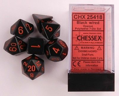 CHX25418 Chessex Opaque Poly 7 Set Black / Red