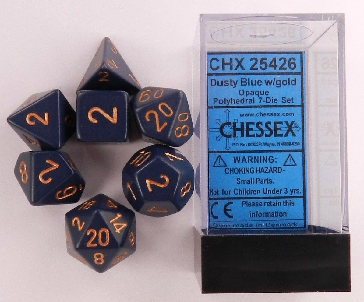 CHX25426 Chessex Opaque Poly 7 Set Dusty Blue / Gold
