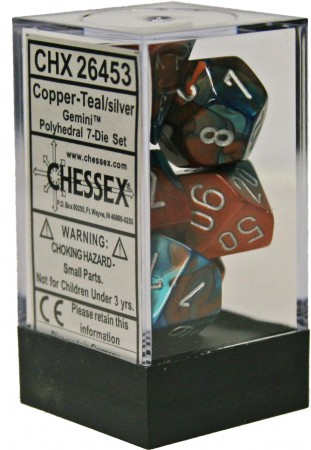 CHX26453 Chessex Gemini Poly Set Copper Teal / Silver